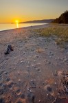 Stock photo of a golden sunset at Agawa Bay on Lake Superior in Lake Superior Provincial Park, Ontario, Canada.