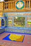 Stock photo of alcove of decorated ceramic tiles depicting a scene in the province of Huesca at Plaza de Espana, Parque Maria Luisa, City of Sevilla (Seville), Province of Sevilla, Andalusia (Andalucia), Spain, Europe.