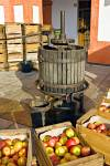 Stock photo of an apple press at the markets in Plaza de la Corredera, City of Cordoba, UNESCO World Heritage Site, Province of Cordoba, Andalusia (Andalucia), Spain, Europe.