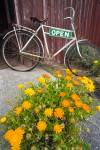 Stock photo of bicycle in front of Nicols' Blacksmith Shop in Duntroon, Waitaki Valley, North Otago, South Island, New Zealand.