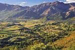 Stock photo of the end of Crown Range Road looking towards Arrowtown, Central Otago, South Island, New Zealand.