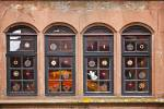 Stock photo of decorated windows of a building at Burg Ronneburg (Burgmuseum), Ronneburg Castle, Ronneburg, Hessen, Germany, Europe.