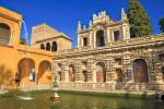 Stock photo of the Estanque de Mercurio (Pond of Mercury), Reales Alcazares (Royal Palaces) - UNESCO World Heritage Site, Santa Cruz District, City of Sevilla (Seville), Province of Sevilla, Andalusia (Andalucia), Spain, Europe.