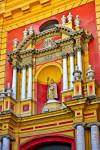 Stock photo of the architecture of Iglesia de San Ildefonso (church) in the Santa Cruz District, City of Sevilla, Province of Sevilla, Andalusia, Spain, Europe.