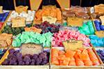 Stock photo of selections of colorful jelly and chocolate sweets at a market stall during a Medieval festival at Plaza de la Corredera, City of Cordoba, UNESCO World Heritage Site, Province of Cordoba, Andalusia (Andalucia), Spain, Europe.