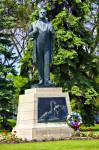 Stock photo of the statue of Jon Sigurdsson (1811-1879), Iceland's patriot, on the grounds of the Legislative Building in the City of Winnipeg, Manitoba, Canada.