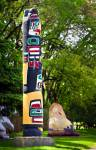 Stock photo of the Kwakiutl totem pole on the grounds of the Legislative Building in the City of Winnipeg, Manitoba, Canada.