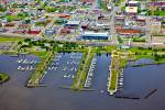 Stock photo aerial view of the marina and waterfront in the City of Thunder Bay, Ontario, Canada.