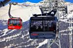 Stock photo of the Peak 2 Peak Gondola on Whistler Mountain with Blackcomb Mountain in the background, Whistler Blackcomb, Whistler, British Columbia, Canada.