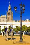 Stock photo of two policemen on horseback standing in a courtyard of the Reales Acazares backdropped by La Giralda (bell tower/minaret) in the Santa Cruz district in the City of Sevilla (Seville), Province of Sevilla, Andalusia (Andalucia), Spain, Europe.