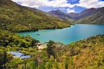 Stock photo of Punga Cove Resort sitting in the valley, Endeavour Inlet, Queen Charlotte Sound, Marlborough, South Island, New Zealand.