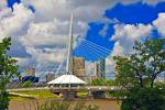 Stock photo of the Esplanade Riel Bridge, a suspension bridge for pedestrians crosses the Red River in the City of Winnipeg, Manitoba, Canada.