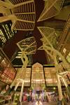 Stock photo of a night scene of tree sculptures dominating the Stephen Avenue Mall walkway, 8th Avenue SW, City of Calgary, Alberta, Canada.
