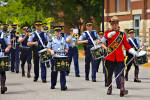 Stock photo of a musical band performing during the Sargeant Major's Parade and Graduation ceremony at the RCMP Academy, City of Regina, Saskatchewan, Canada.