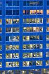 Stock photo of windows of a blue building in the City of Frankfurt am Main, Hessen, Germany, Europe.
