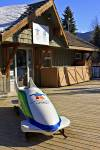 Stock photo of the Vancouver 2010 bobsled outside the 2010 Olympic Office along the Village Stroll in Whistler Village, British Columbia, Canada.
