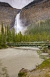 Stock photo of the bridge along the trail to the beautiful cascading waterfall Takakkaw Falls waterfall along the Yoho River in Yoho National Park, British Columbia, Canada.