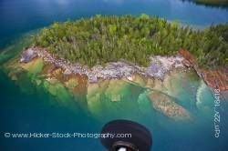 Aerial View abstract Small Rocky Island on Lake Superior taken on flight from Thunder Bay Ontario Ca