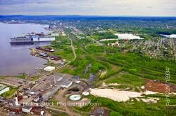 Aerial View Industrial Landscape Lake Superior Shoreline City of Thunder Bay Ontario Canada