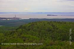 Aerial View of the Landscape near the City of Thunder Bay shore of Lake Superior Ontario Canada