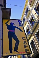 Bar/Cafe sign along Calle San Jeronimo City of Granada Province of Granada Andalusia Spain
