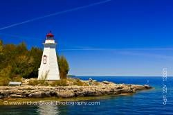 Big Tub Lighthouse (1885) at Lighthouse Point near Tobermory Big Tub Harbour Lake Huron Ontario