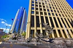 Bronze caribou sculpture Richardson Building City of Winnipeg Manitoba Canada