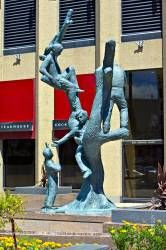 Bronze statue children Richardson Building Winnipeg Manitoba canada