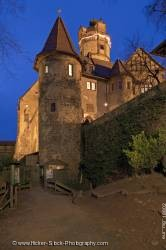 Illuminated Burg Ronneburg castle dusk