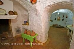 Interior of cave dwelling in town of Guadix Province of Granada Andalusia Spain