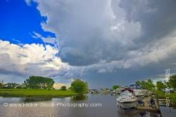 Clouds threatening Winnipeg Beach marina Lake Winnipeg in the town of Winnipeg Beach Manitoba Canada
