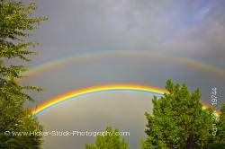 Double rainbow during thunder storm city of Regina Saskatchewan Canada