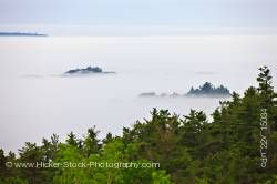 Lake Superior shrouded by fog near Lizard Island in Lake Superior Provincial Park in Ontario Canada