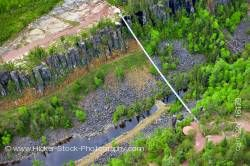 Aerial View Foot Suspension Bridge Spanning Eagle Canyon Ontario Canada