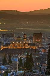 Granada Cathedral dusk in City of Granada Province of Granada Andalusia Spain Europe
