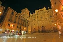 Cathedral facade on Plaza de las Pasiegas at night in city of Granada Province of Granada Andalusia