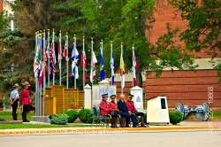 Hierarchy in front of monument during parade RCMP Academy City of Regina Saskatchewan Canada