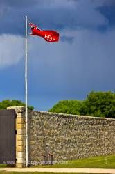 Hudson Bay Flag pole East Gate Lower Fort Garry Selkirk Manitoba Canada