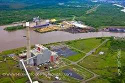 Industrial Landscape Aerial View Shore of Lake Superior City of Thunder Bay Ontario Canada
