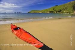 Red Kayak Titirangi Bay Beach Marlborough South Island New Zealand