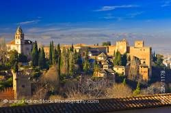 La Alhambra from Upper Gardens of Generalife City of Granada Province of Granada Andalusia Spain