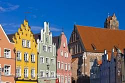 Colorful facades of buildings in Old Town district in City of Landshut Bavaria Germany Europe