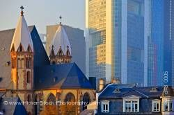 Leonardikirche oldest church modern buildings downtown Frankfurt Hessen Germany Europe