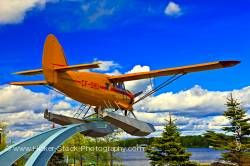 Norseman Aircraft on Pedestal in Norseman Heritage Centre Park Blue Sky Red Lake Ontario