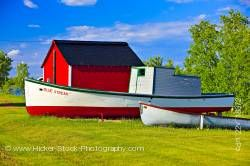 Old boats red shed Hecla Village Lake Winnipeg Hecla Island Manitoba Canada