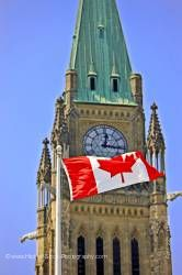 Canadian flag and peace tower at parliament hill Ottawa, Canada.