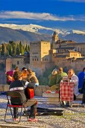 People scenery Alhambra City of Granada Province of Granada Andalusia Spain Europe