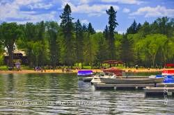 People Clear Lake in Wasagaming Riding Mountain National Park Manitoba Canada