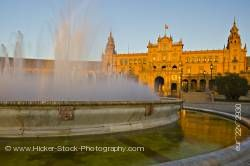 Central building and fountain Plaza de Espana Parque Maria Luisa City of Sevilla