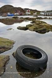 Pollution Car tire Great Brehat Viking Trail Northern Peninsula Newfoundland Canada